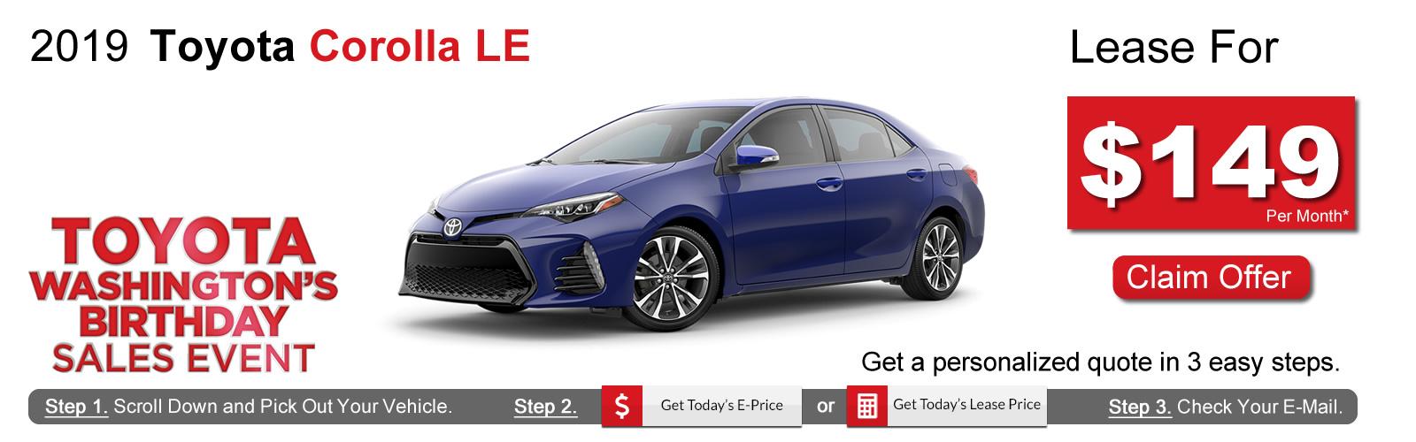 2019 Toyota Corolla Lease Deals near Boston, MA