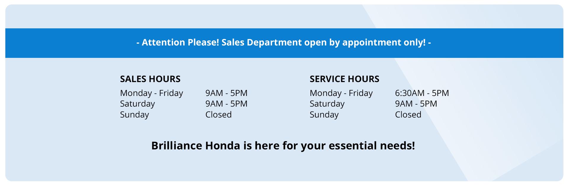 Brilliance Honda Covid 19 New Hours