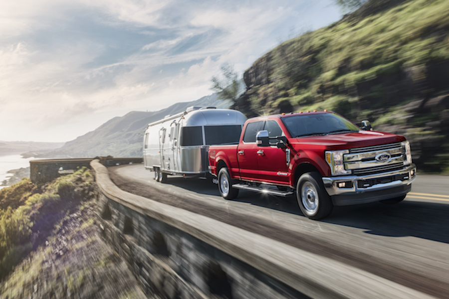 Ford F-250 towing trailer