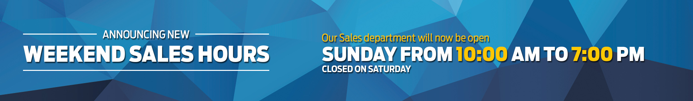 Weekend Sales Hours
