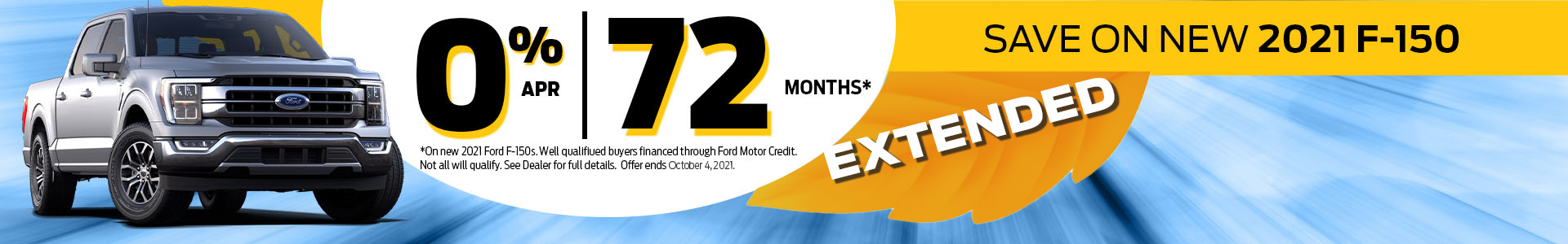 0% APR for 72 Months Offer on 2021 F-150s extended