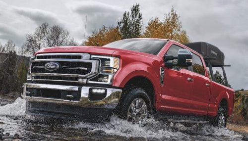 Red Ford Super Duty Lariat Lifted