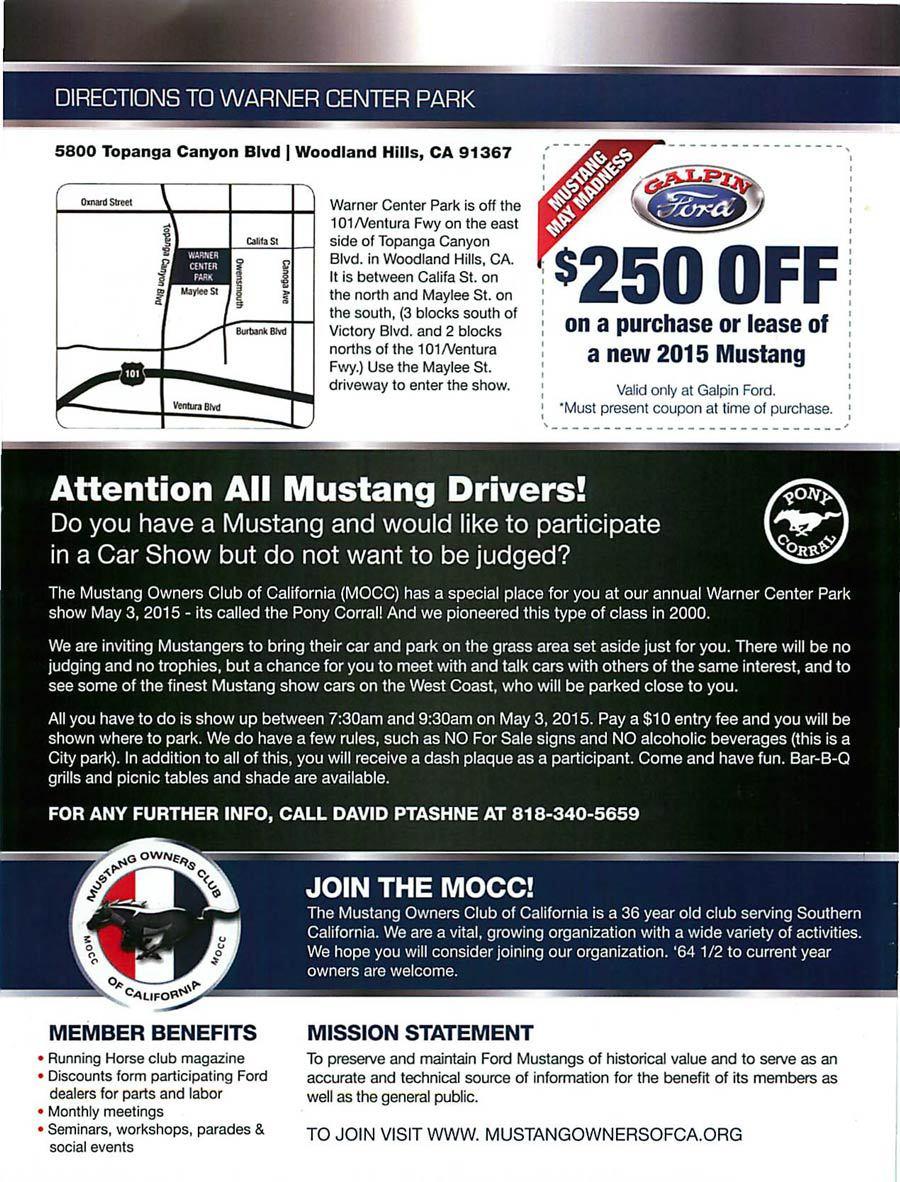 Mustangs at Warner Center Park - Mustang & Ford Car Show