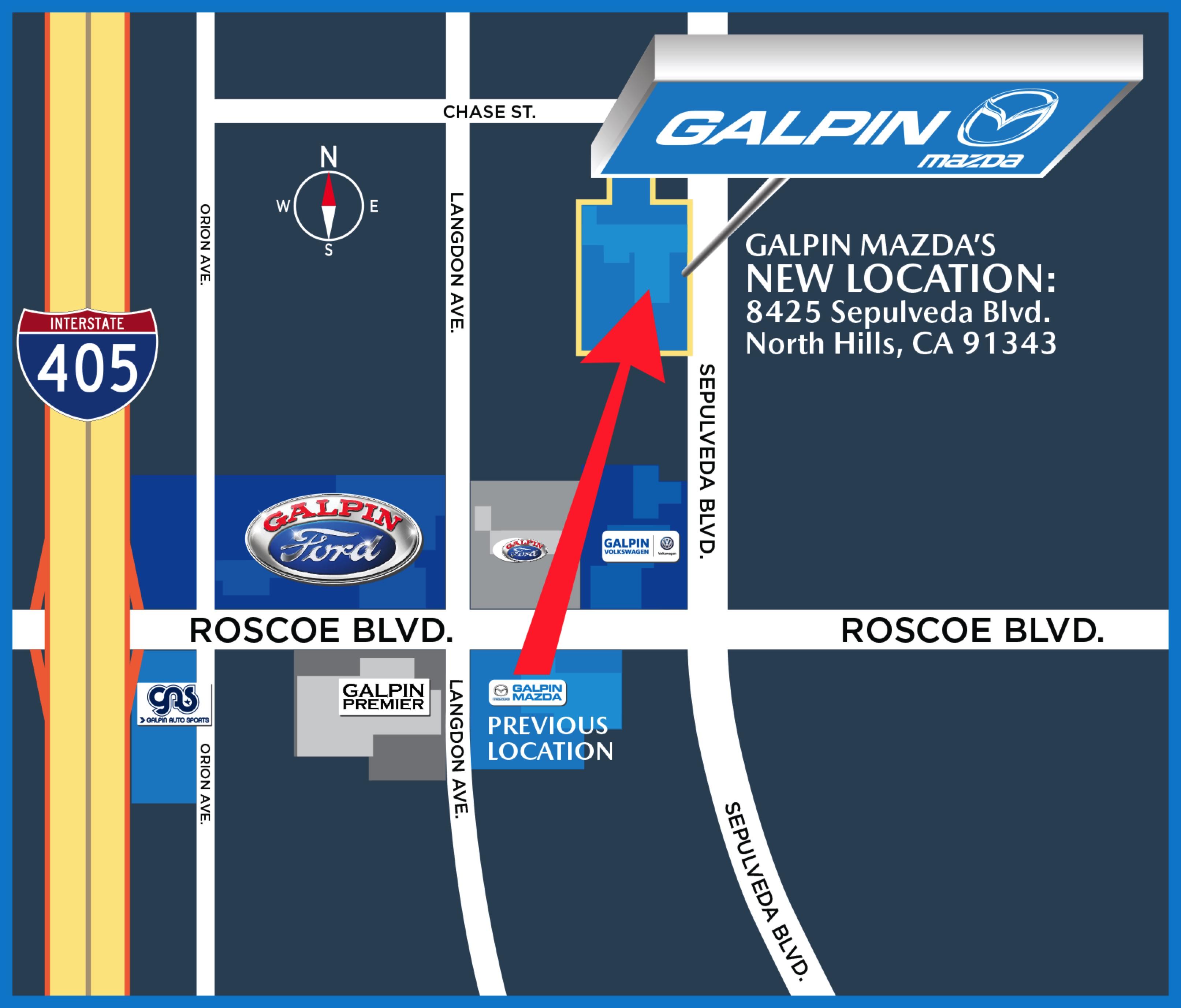 Galpin Mazda New Location Map