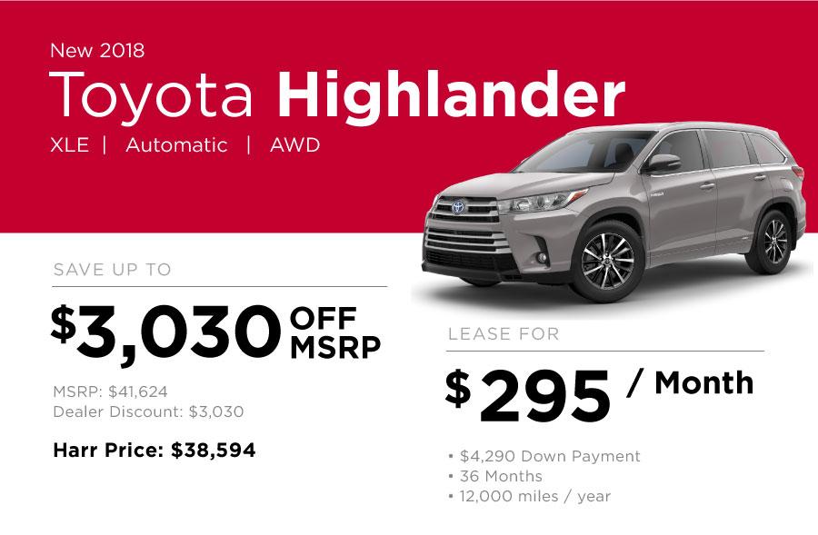 Toyota Highlander Special Offer