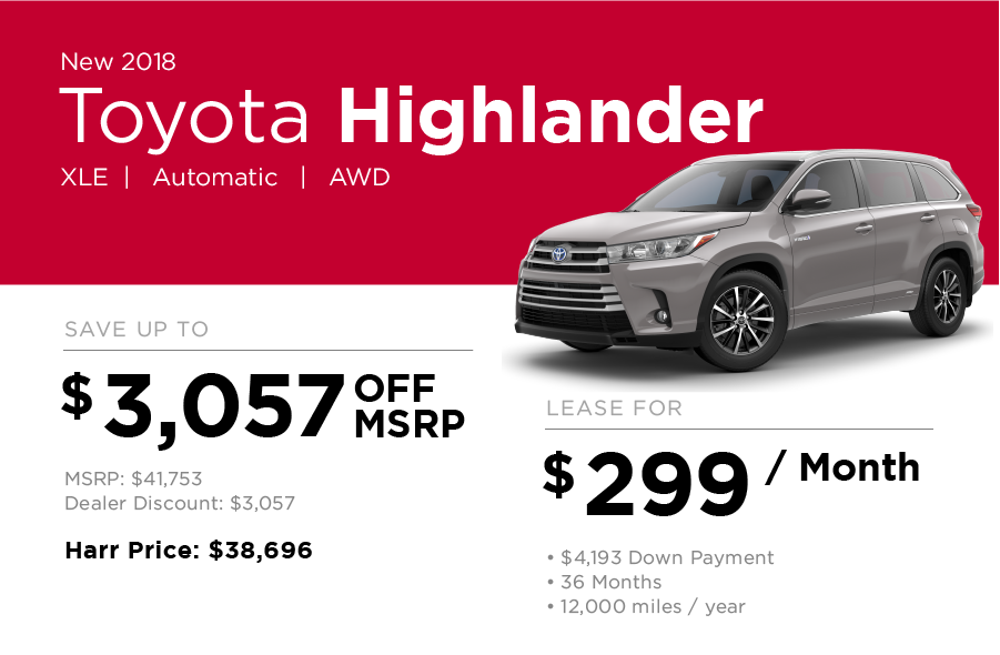 Toyota Highlander Special Offer