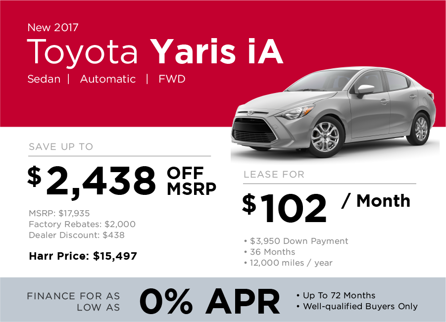 Toyota Yaris iA Specials Offer