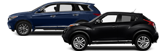 Blue Nissan SUV and black Nissan crossover in Meriden, CT.