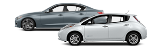 Grey Nissan hybrid and white Nissan electric car.