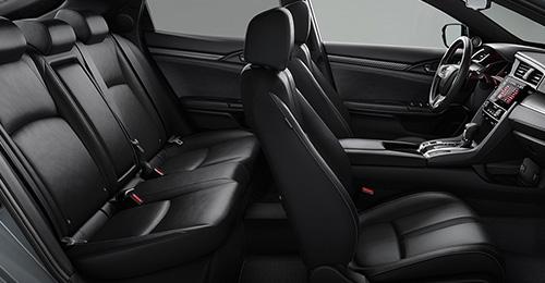 2017 Honda Civic Hatchback black leather-trimmed interior