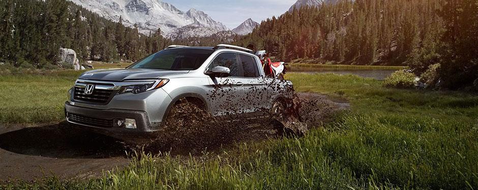 2017 Honda Ridgeline silver exterior off road mud