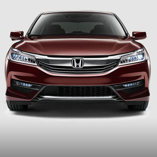 2017 Honda Accord aggressive grille design and available LED headlights in Los Angeles