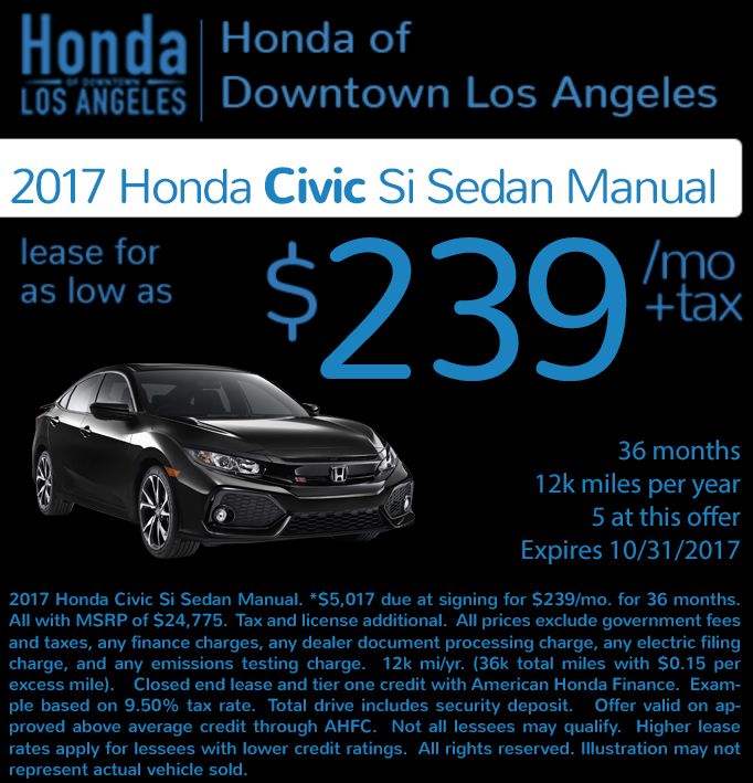 Check out these new car lease special deals on the all new Honda Civic Si. Contact our dealership in Downtown Los Angeles for more details!