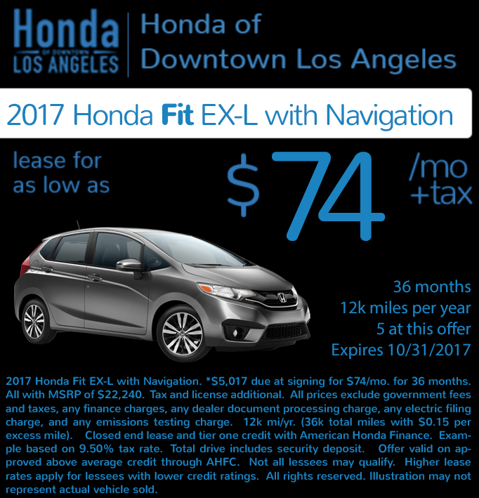 Check out these new car lease special deals on the all new Honda Fit. Contact our dealership in Downtown Los Angeles for more details!