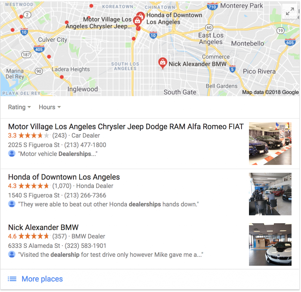 Google My Business pages displayed on the first page.