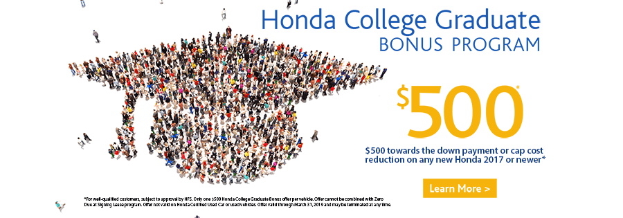 High Quality The Honda Graduate Program Helps Upcoming And Recent College Grads Save  $500 Towards Any New 2017 Or Newer Honda Vehicle When They Finance Or Lease  With ...