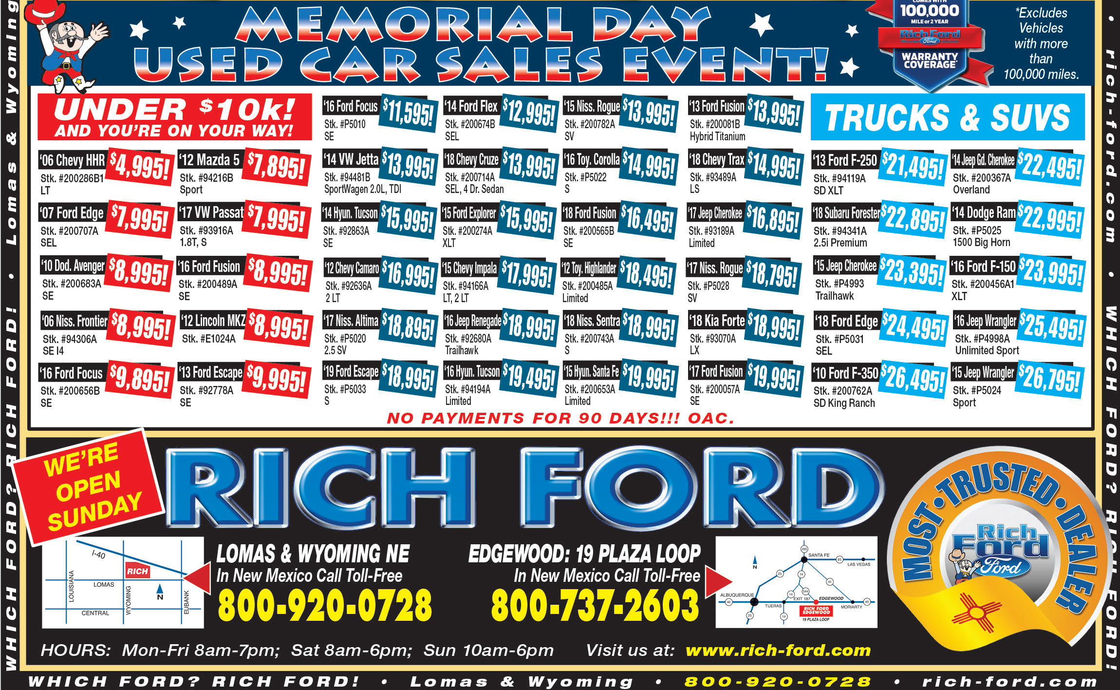 Rich Ford Used Vehicle Weekly Special