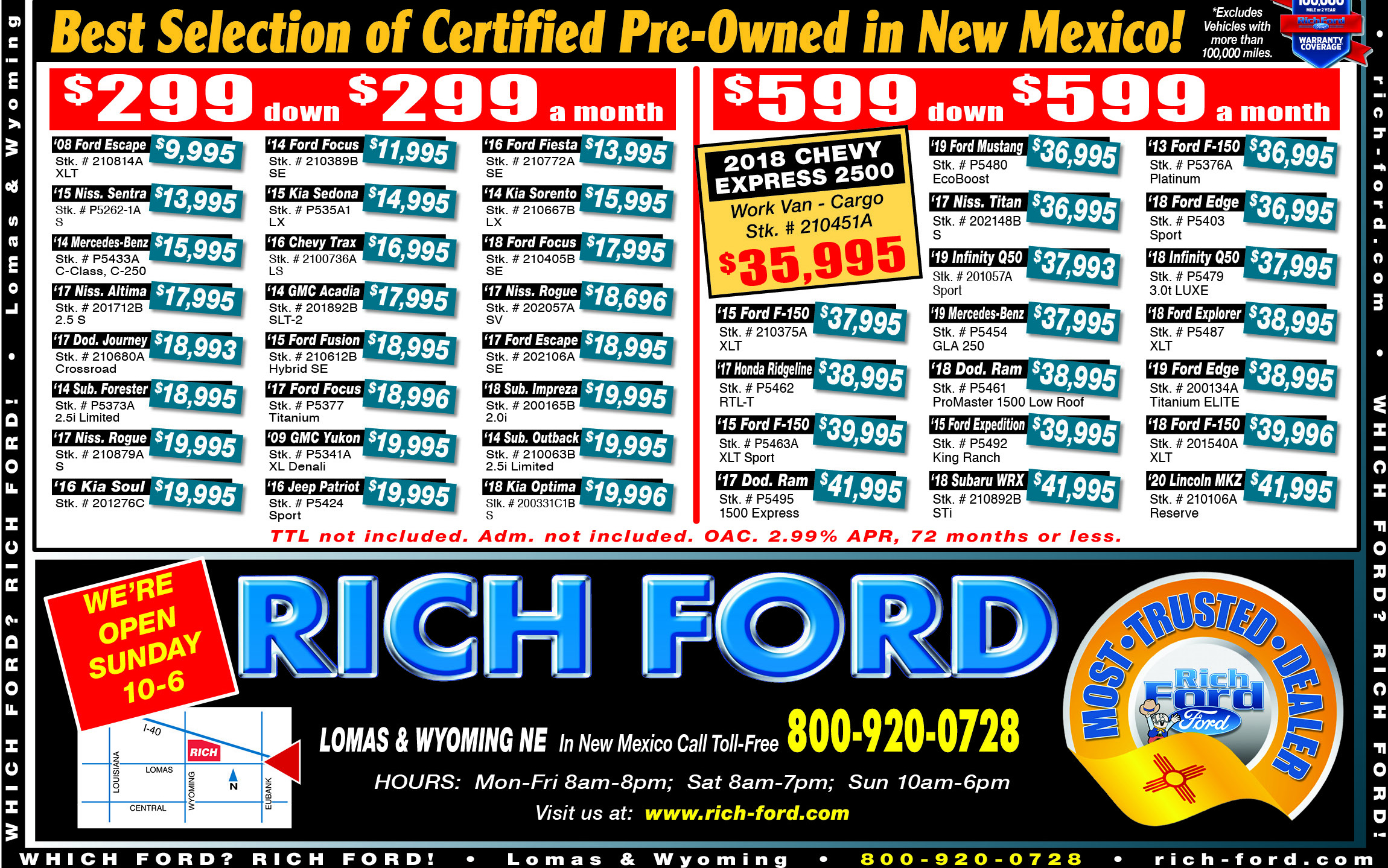 Rich Ford Used Vehicle Weekly Specials