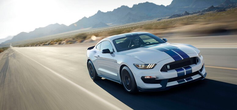 2019 Ford Mustang Exterior White With Blue Racing Stripe