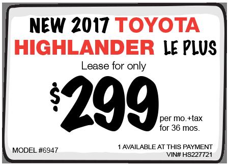 New 2016 Toyota Highlander XLE V6 Lease Offer