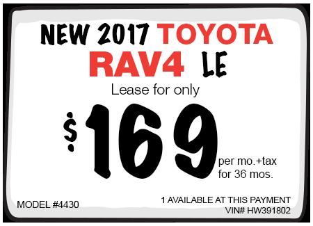 New 2017 Toyota RAV4 LE Lease Offer