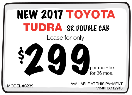 New 2017 Toyota Tundra SR Double Cab Lease Offer