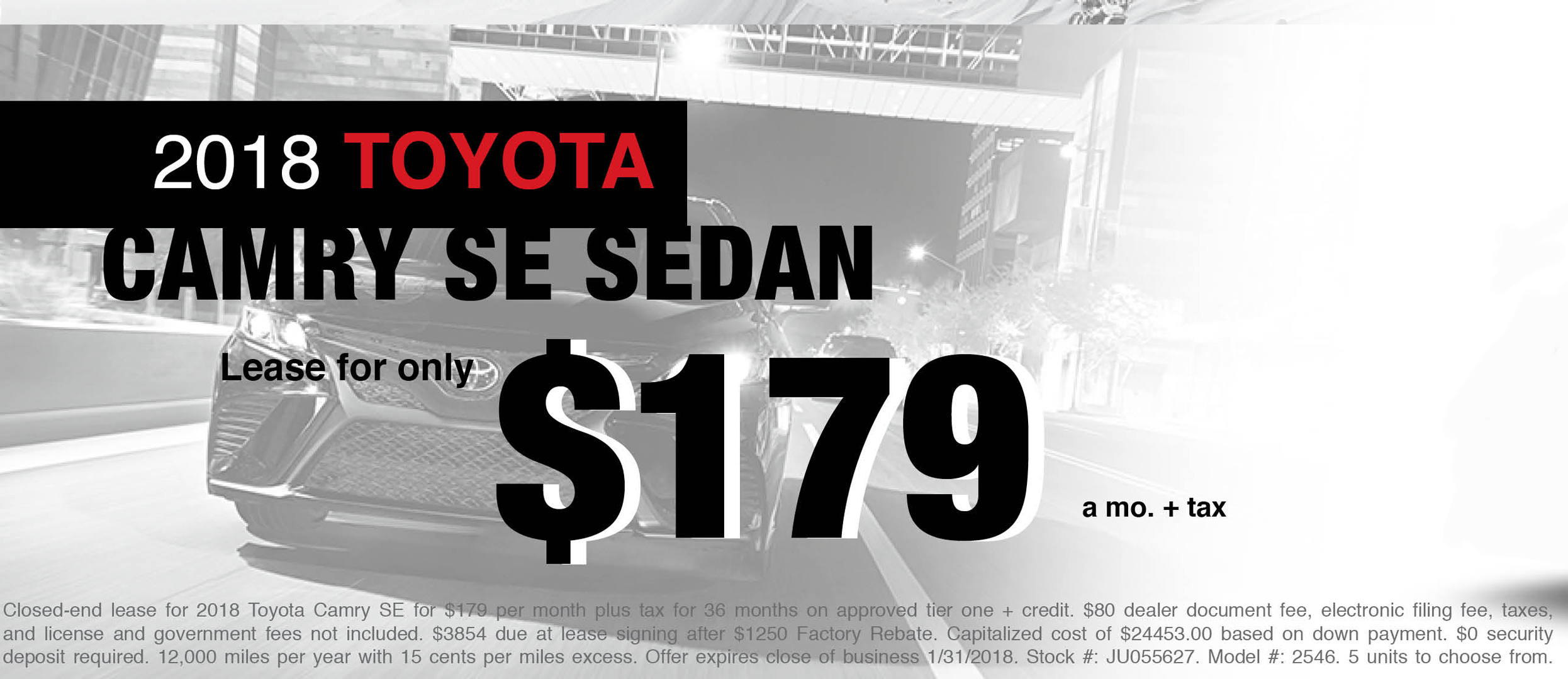New 2018 Toyota Camry SE Lease Offer
