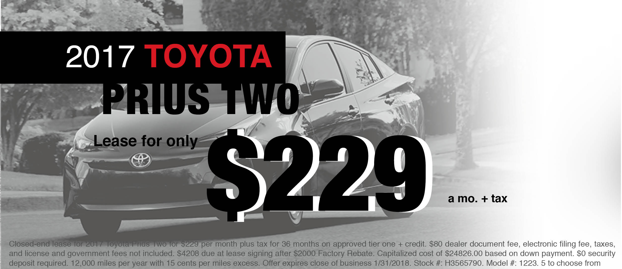 New 2018 Toyota Prius 2 Lease Offer