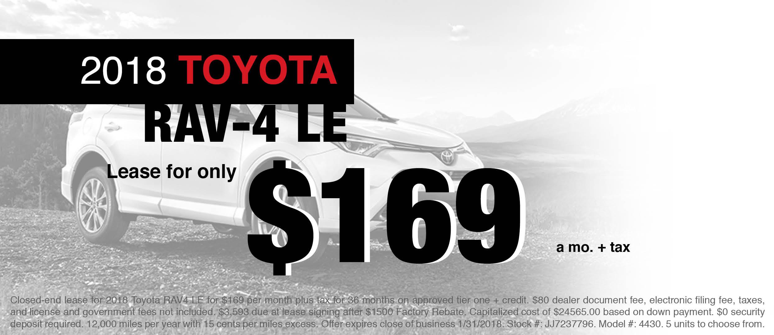 New 2018 Toyota RAV4 LE Lease Offer