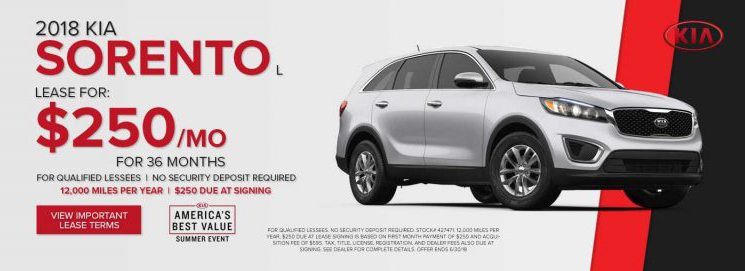 Lease A 2018 Kia Sorento For $250/ Month For 36 Months For Qualified  Lessees. $250 Due At Lease Signing (excludes Tax, Title And Fees).