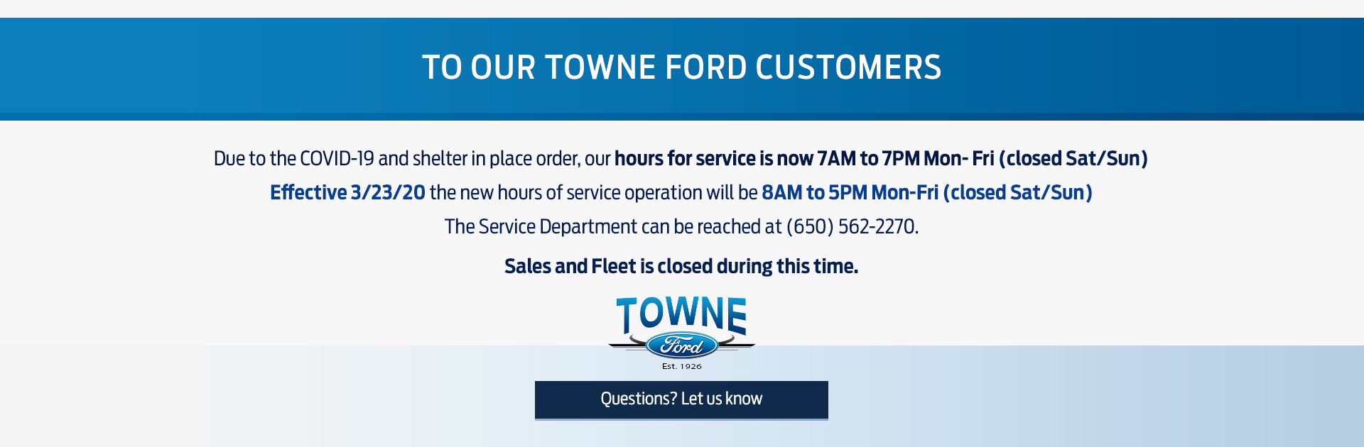 Towne Ford Covid19 Banner1
