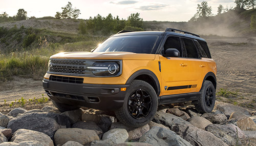2021 Ford Bronco Sport parked on a pile of rocks
