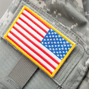 Us Flag Shoulder Patch On Solder's Uniform Studio Shot