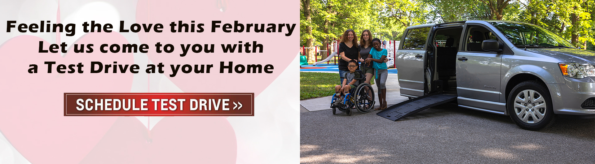 Wheelchair accessible van at home test drive