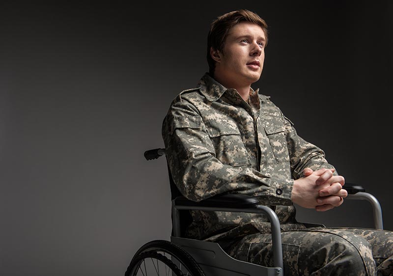 Veteran on wheelchair