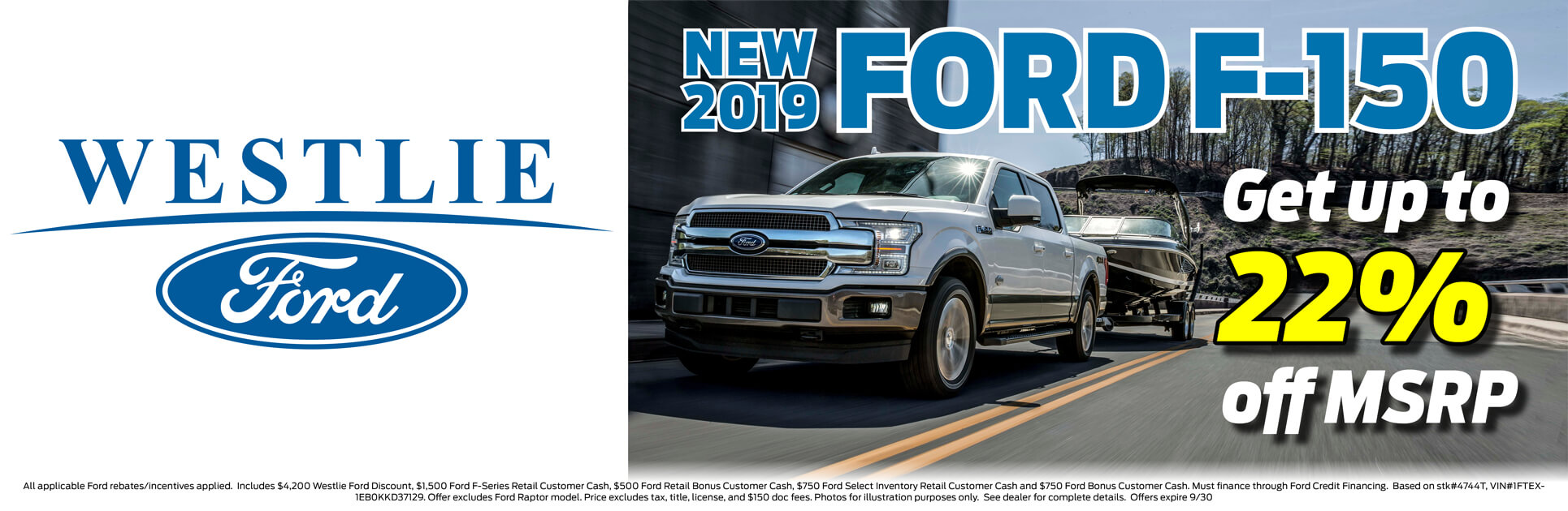 Get up to 22% off MSRP on a 2019 Ford F-150