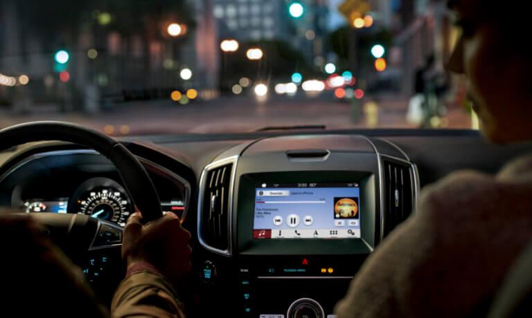 2019 Ford Edge interior infotainment at night