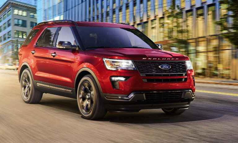 2019 Ford Explorer Driving City Street at Night