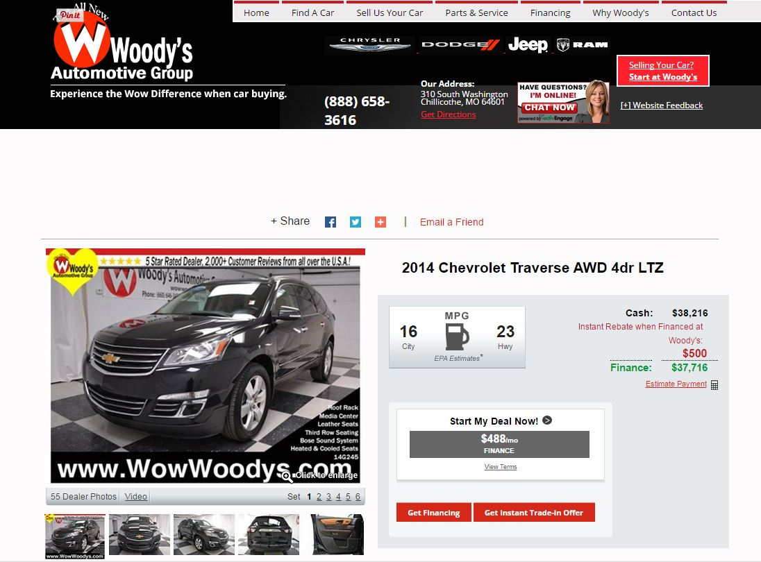 2014 Chevy Traverse at Woodys