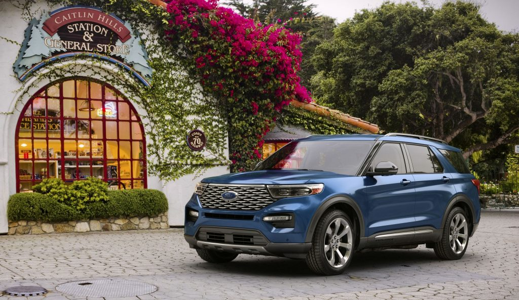 2020 Ford Explorer Outside In Front Of Building With Flowers