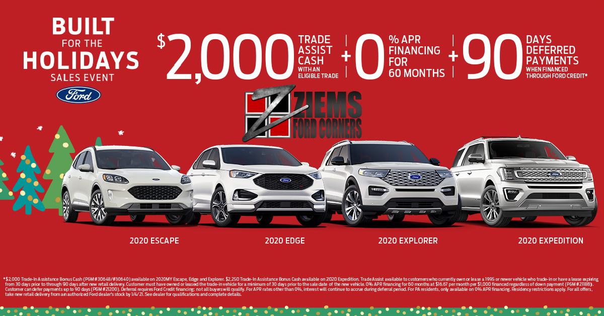 The countdown to 2021 has officially started and at Ziem's Ford that can only mean one thing: It's time for the Ford Built For The Holidays